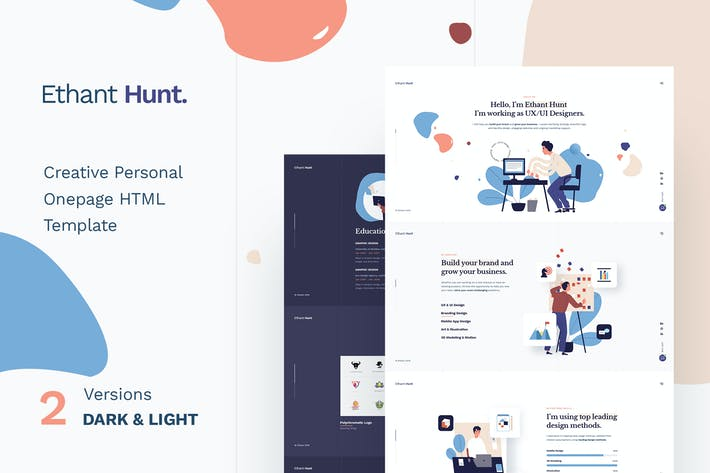 Thumbnail for Ethant Hunt - Personal Onepage WordPress Thème