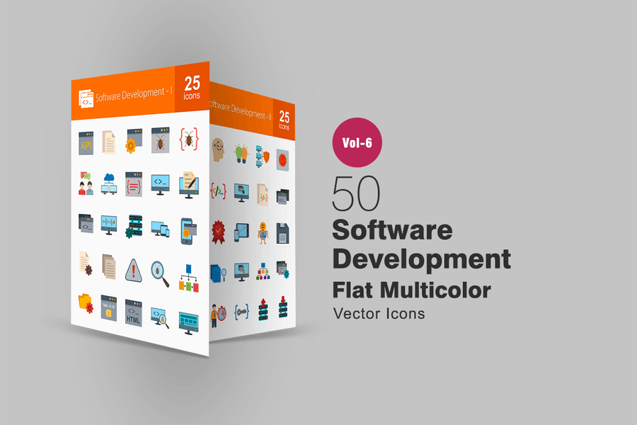 50 Software Development Flat Multicolor Icons