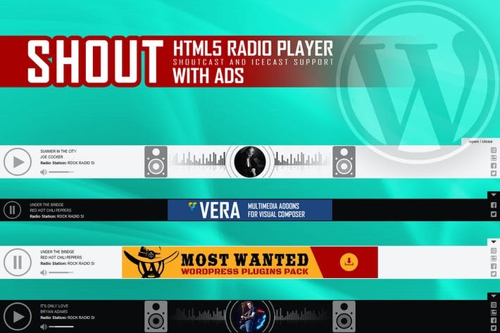 Thumbnail for SHOUT - HTML5 Radio Player mit Anzeigen - WP Plugin