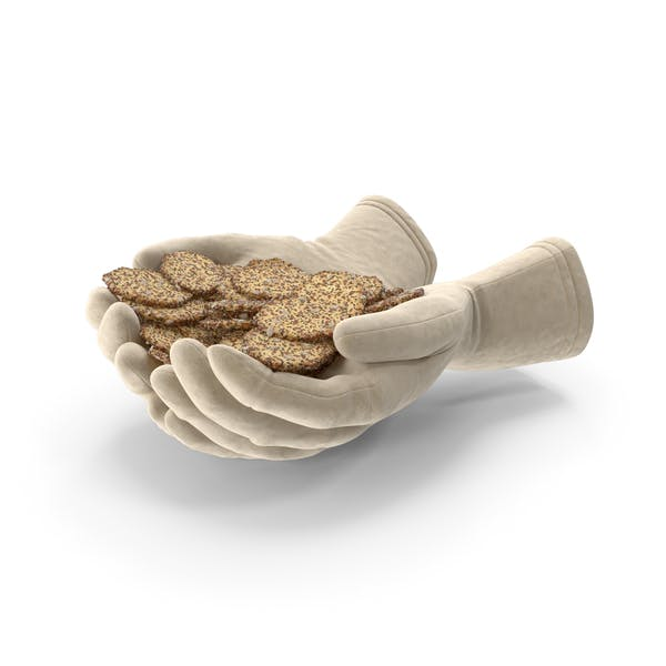 Gloves Handful with Crackers with Seeds