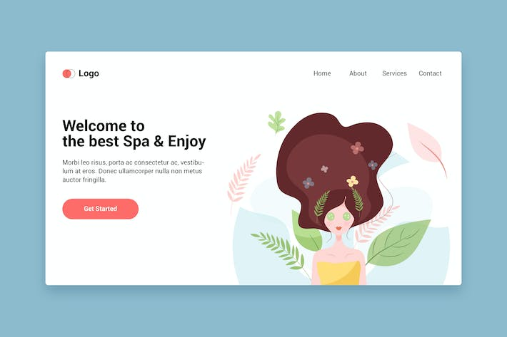 Cover Image For Spa flat web template for Landing page