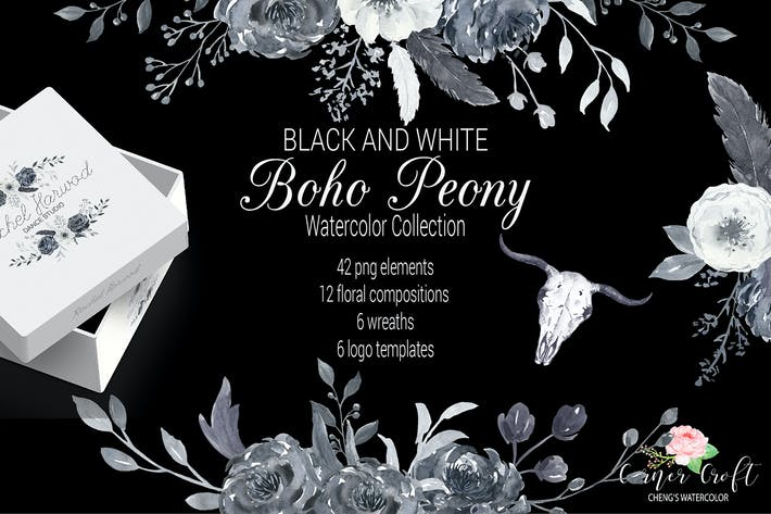 Thumbnail for Watercolor Boho Peony Black and White