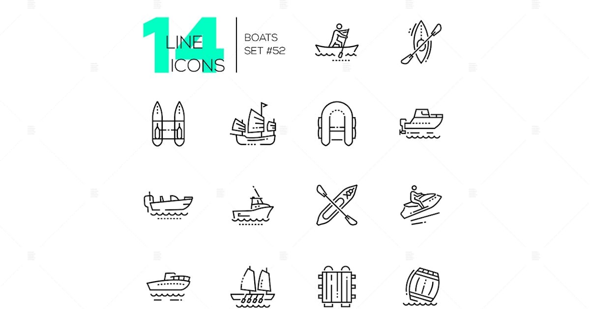 Download Boats - modern thin line design icons set by BoykoPictures