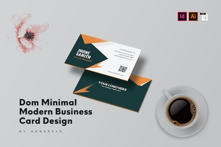 Thumbnail for Dom Minimal Modern Business Card Design