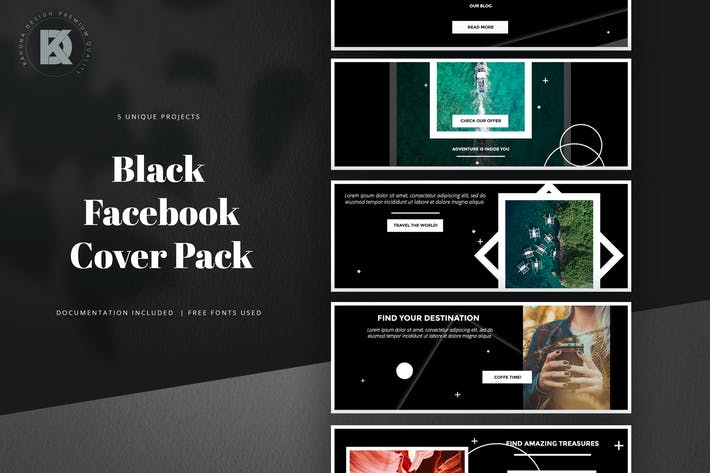 Thumbnail for Black Facebook Cover Pack
