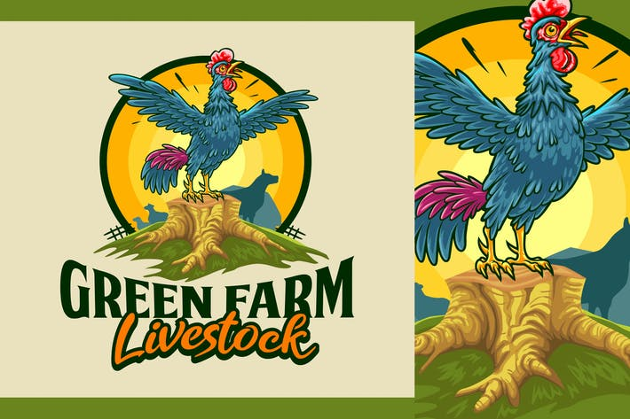 Thumbnail for Cartoon Rooster Mascot - Farm and Livestock Logo