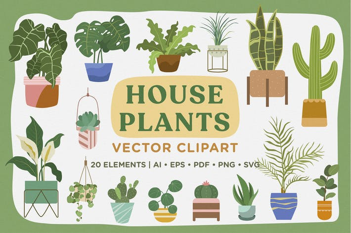 Thumbnail for House Plants Vector Clipart Pack
