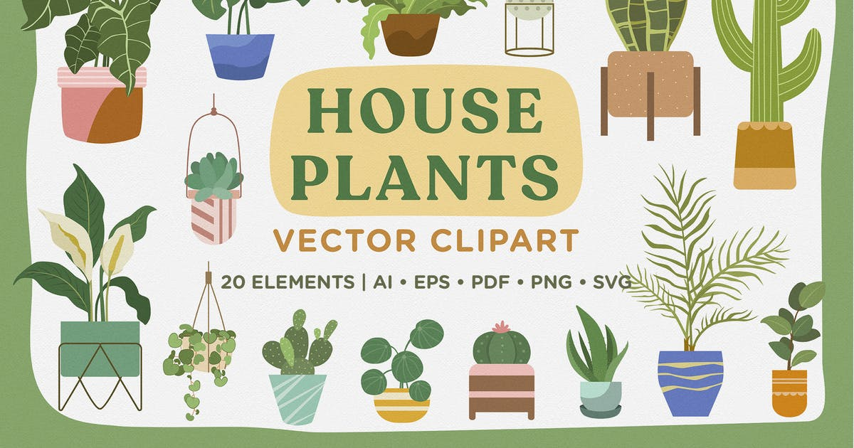 Download House Plants Vector Clipart Pack by telllu