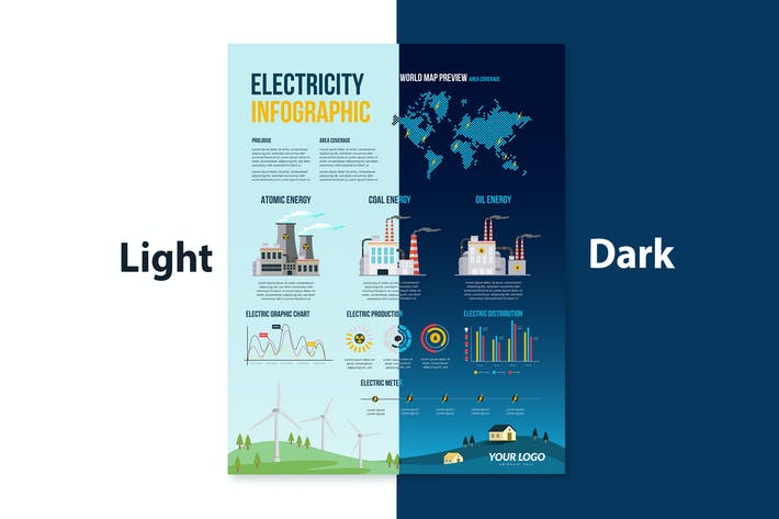 Electricity infographics set with energy & power