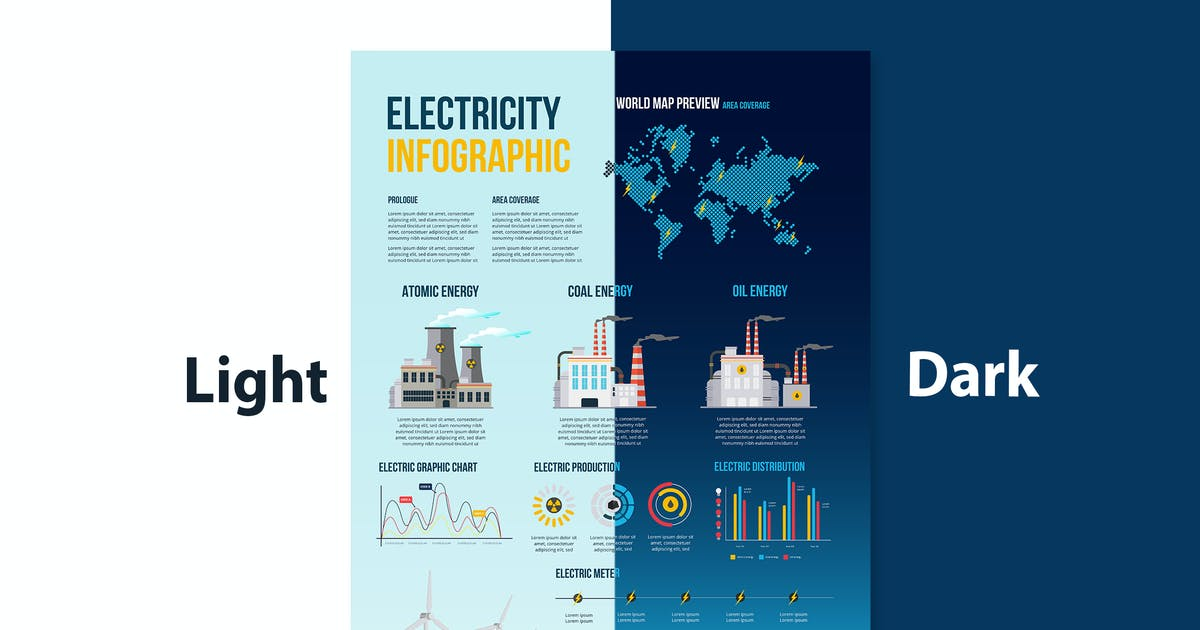 Download Electricity infographics elements: energy & power by tokopress