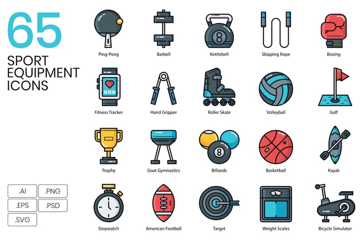 Thumbnail for 65 Sport Equipment Icons