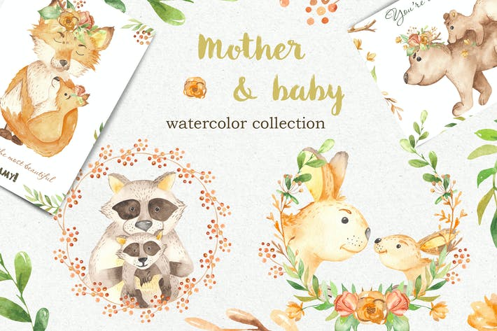 Thumbnail for Watercolor Mother and Baby animals. Mothers Day
