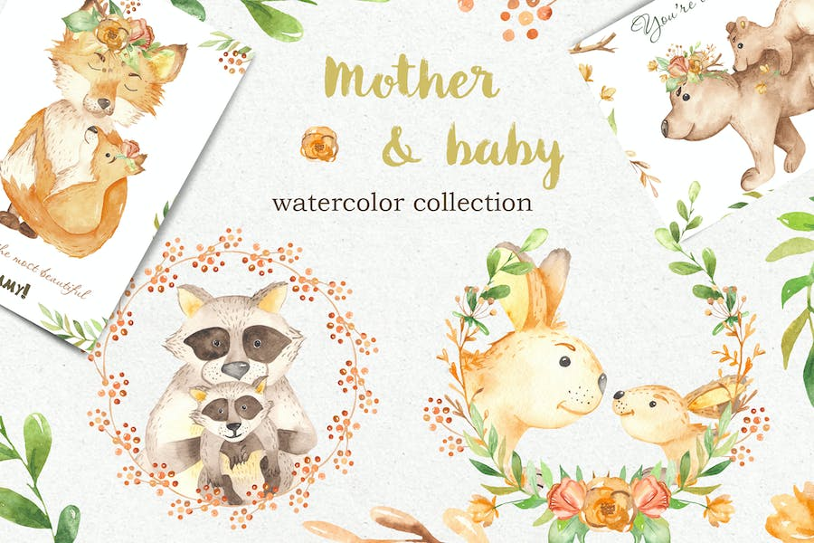 Watercolor Mother and Baby animals. Mothers Day