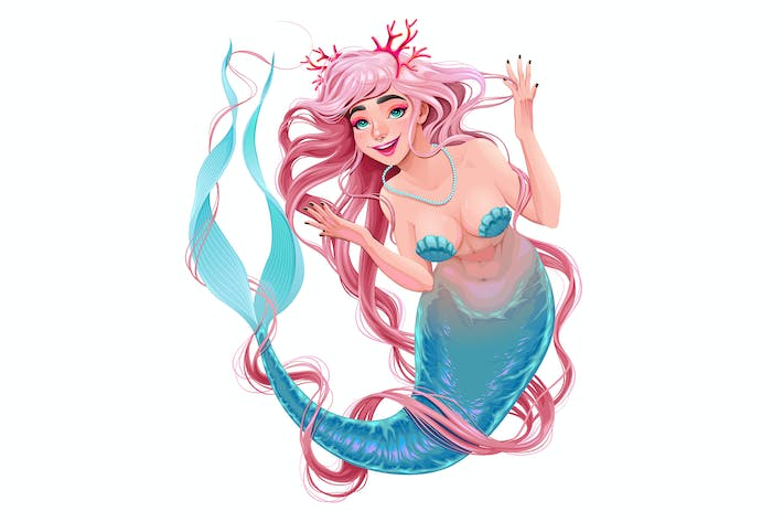 Thumbnail for Smiling Mermaid with Long Pink Hair