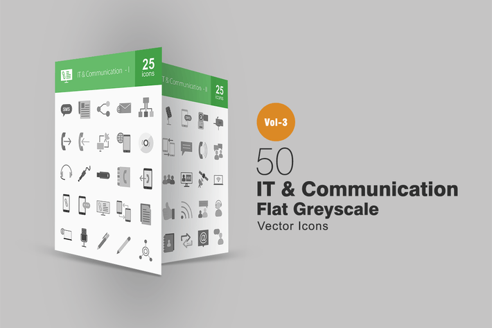 Thumbnail for 50 IT & Communication Greyscale Icons