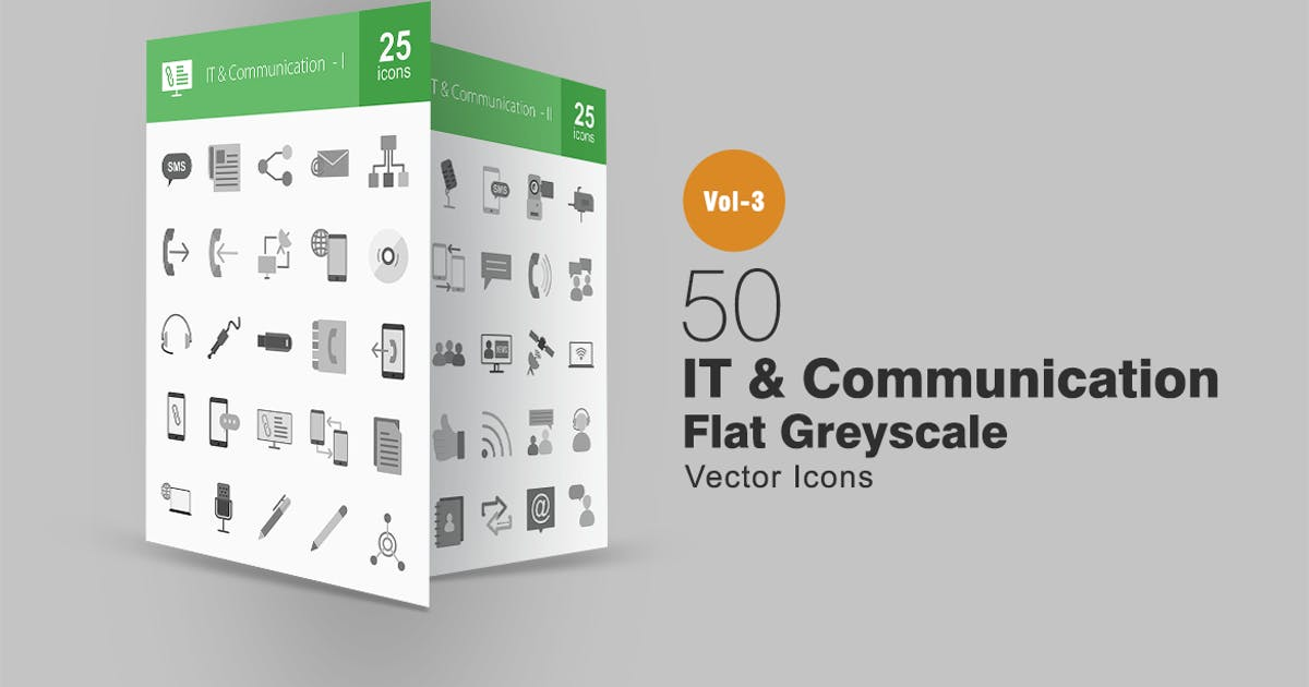 Download 50 IT & Communication Greyscale Icons by IconBunny