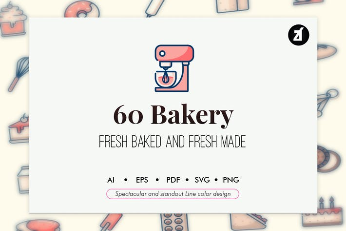 Thumbnail for 60 Bakery elements line color design
