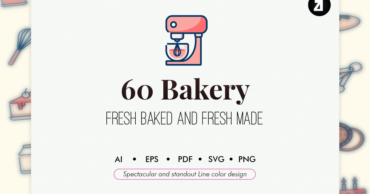 60 Bakery elements line color design by Chanut_industries