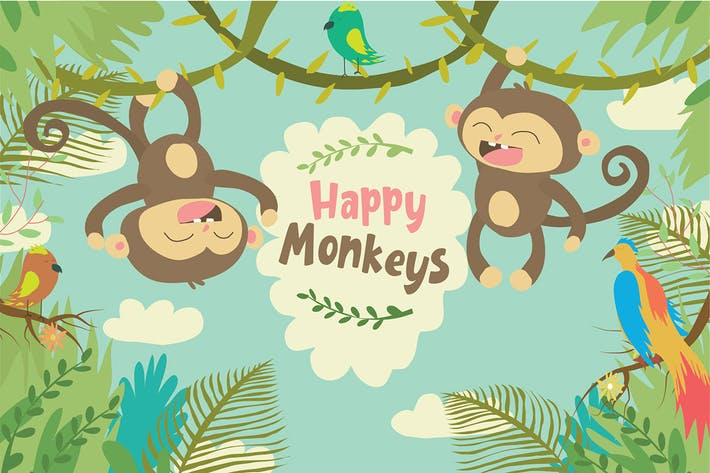 Thumbnail for Happy Monkeys - Vector Illustration