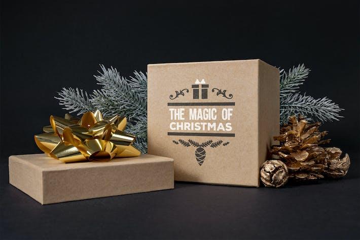 Thumbnail for Christmas gift box mockup