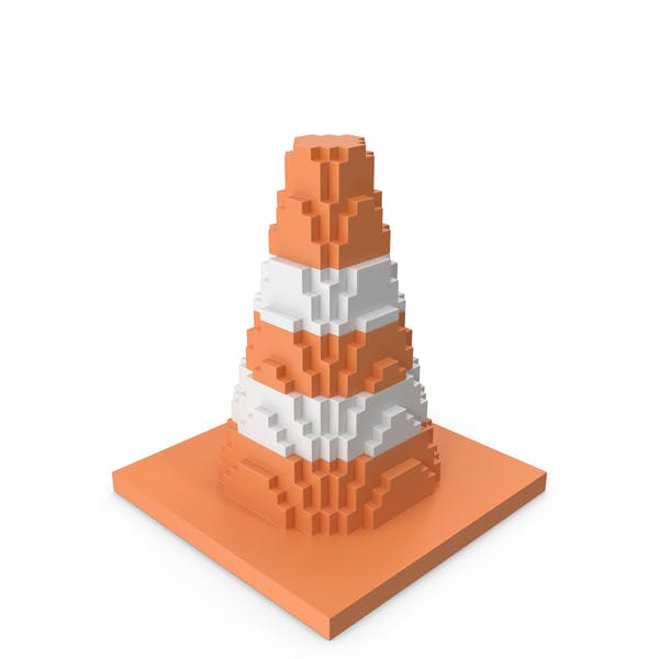 Road Cone Striped Voxelated