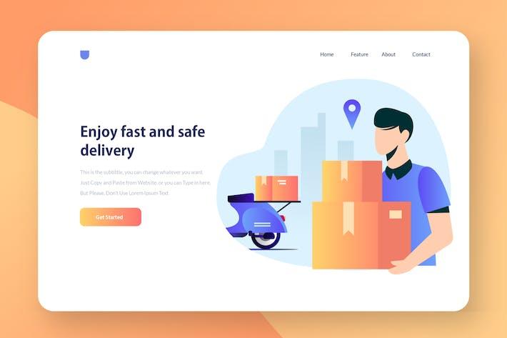 Thumbnail for Delivery Service - Website Header Illustration