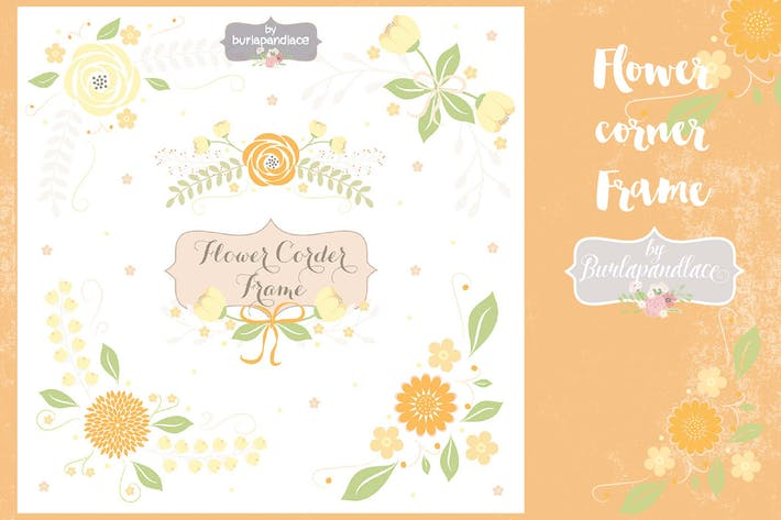 Thumbnail for Flower corner, frame clipart