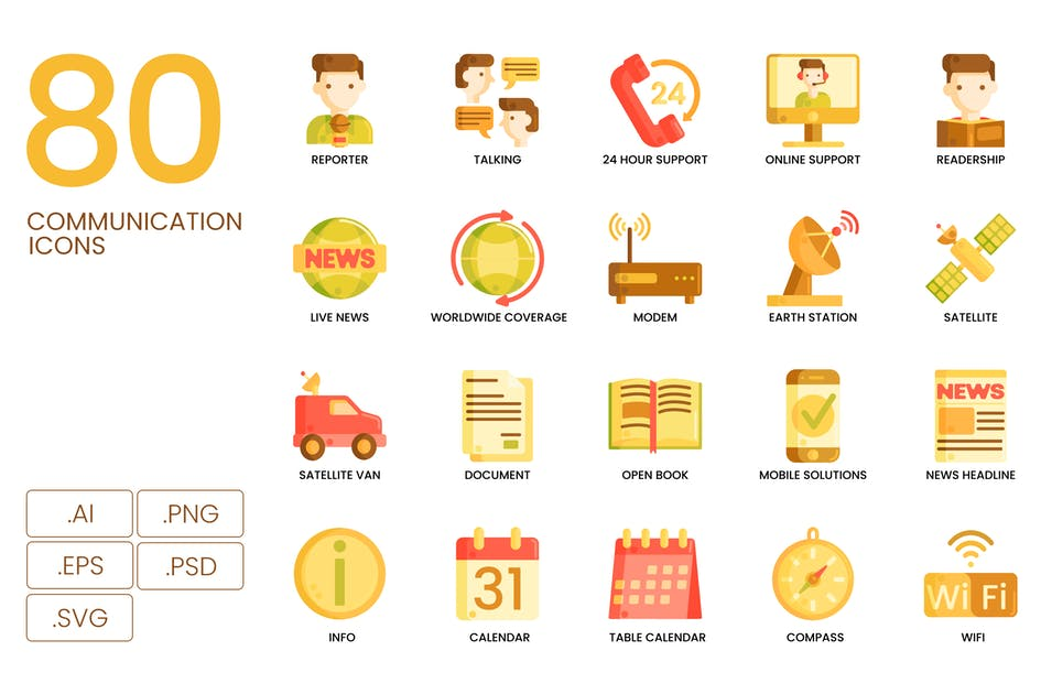 Download 80 Communication Icons | Caramel Series by Krafted