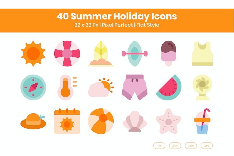 Juego de 40 Íconos de vacaciones de verano - Plano