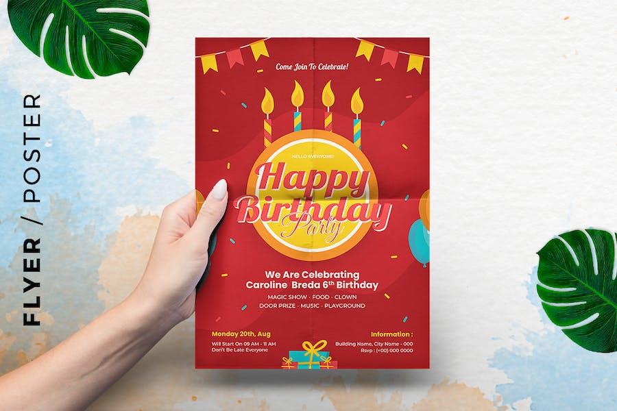 Birthday Card Invitation Template Flyer -  Poster