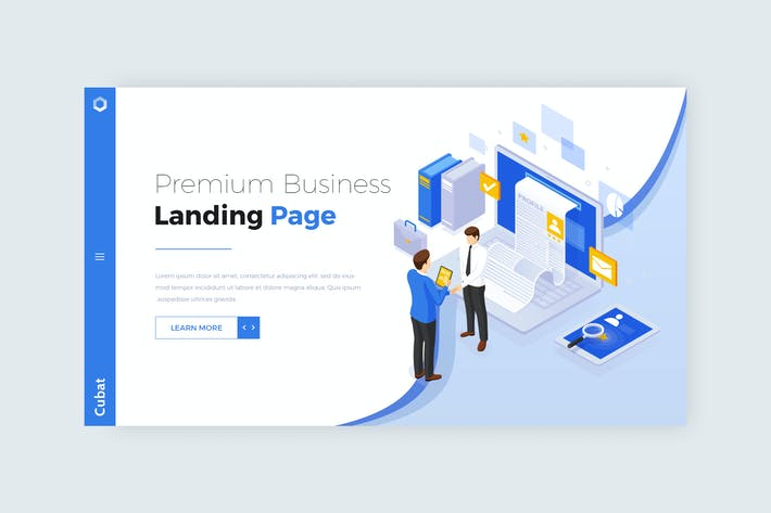Thumbnail for Cubat - Isometric Business Landing Page Design