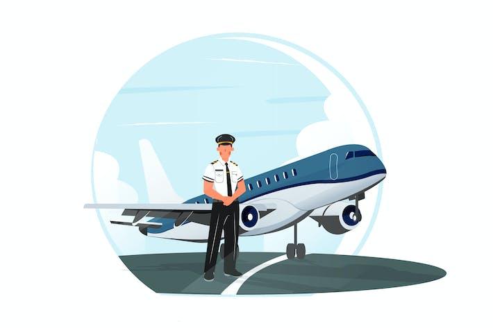 Pilot illustration with a plane