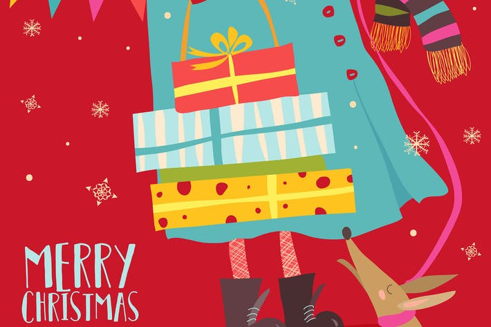 Thumbnail for Girl holding christmas gifts. Vector greeting card