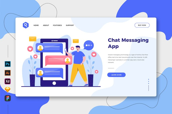 Thumbnail for Chat Messaging App - Web & Mobile Landing Page