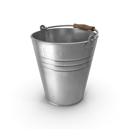Metal Bucket With Wooden Handle