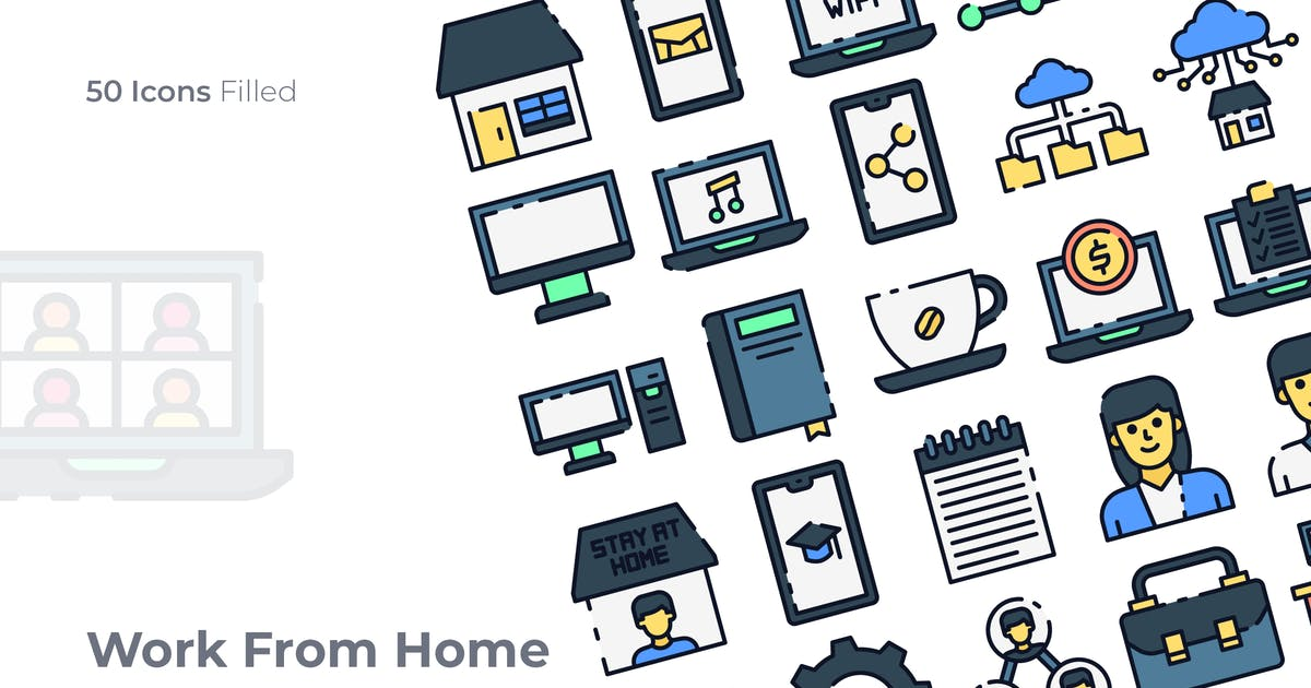 Download Work From Home Filled Icon by GoodWare_Std
