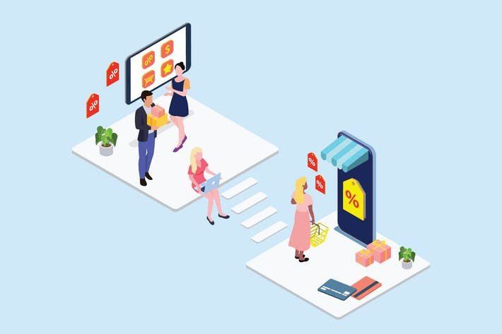 Thumbnail for Online Discount Store Isometric Illustration - G1