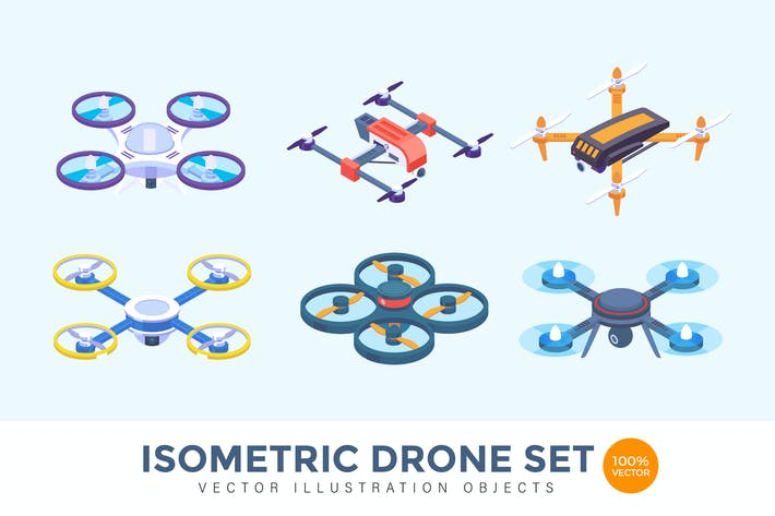 Cover Image For Isometric Drone Vector Set Illustration