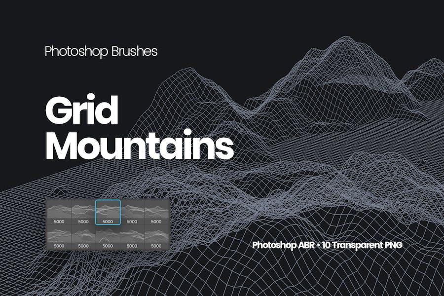 Grid Mountains Photoshop Brushes