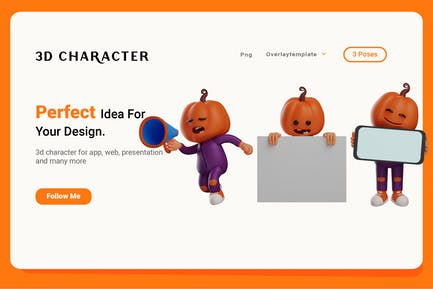 Set 3D of Halloween Scarecrow Character