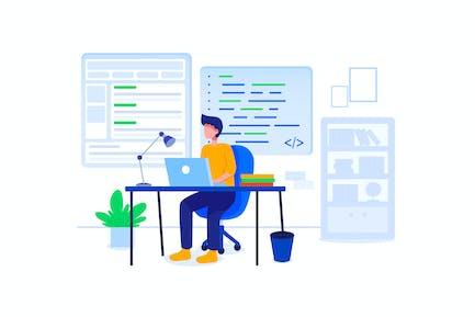 Full Stack Developer Vektor Illustration