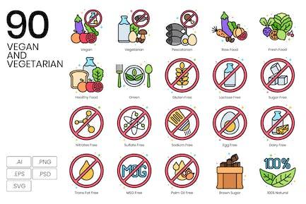 90 Veganes und vegetarisches Icon-Set