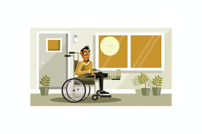 Thumbnail for Man with Broken Leg sitting in the Wheelchair