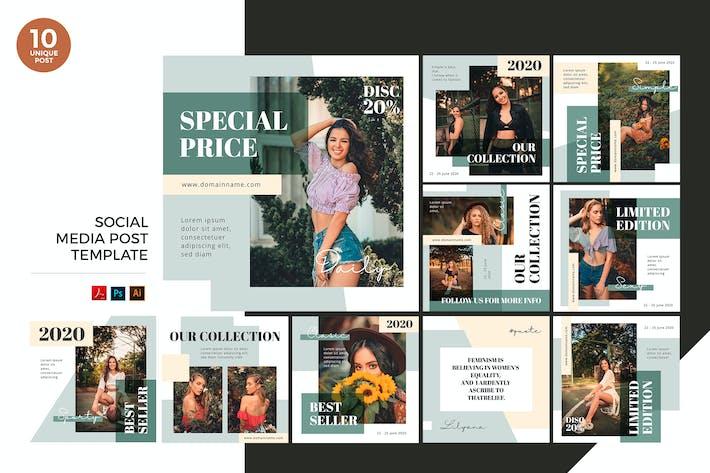 Thumbnail for Back To Nature Fashion Social Media Kit PSD & AI