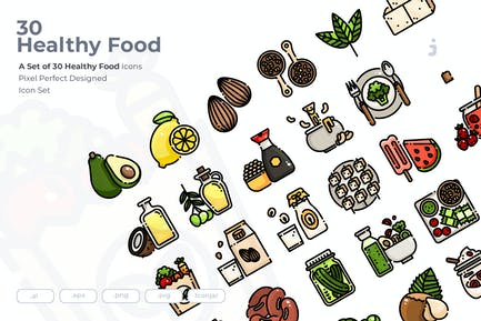 30 Healthy Food and Vegan Icons