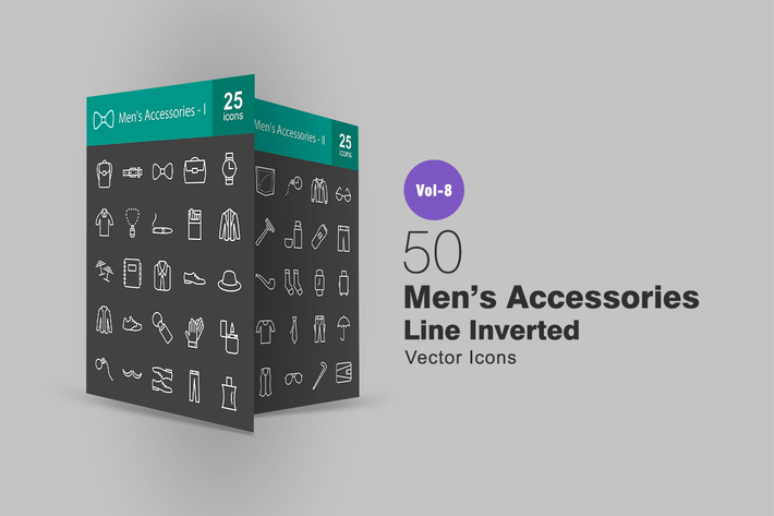 Thumbnail for 50 Men's Accessories Line Inverted Icons