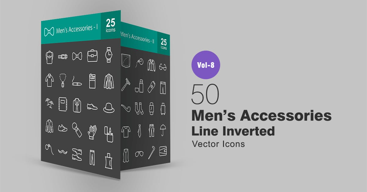 Download 50 Men's Accessories Line Inverted Icons by IconBunny