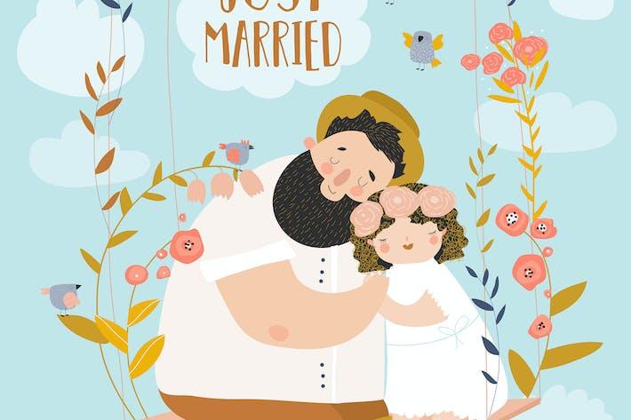 Thumbnail for Glückliches Paar sitzt auf Schaukel in Blumen. Nur marrie