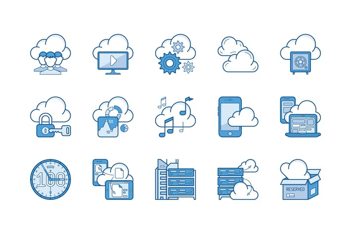 Thumbnail for 15 Cloud storage Icons