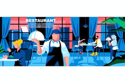 Restaurant Flat Concept Landing Page Header